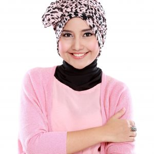 Pink and Black cotton hijab