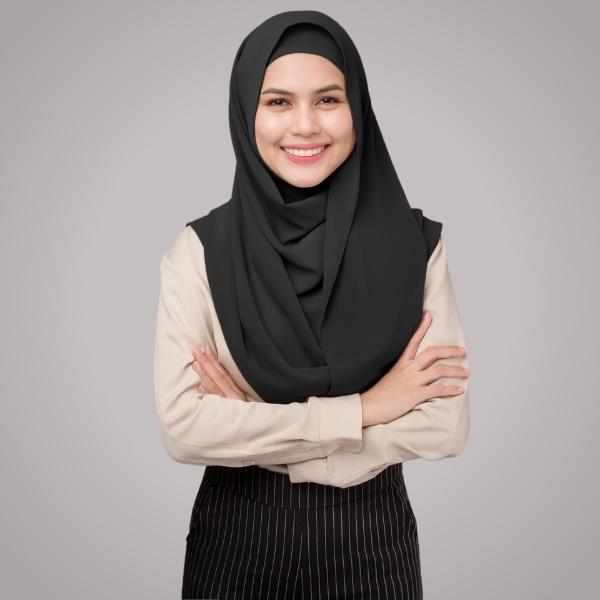 Black Chiffon Hijab