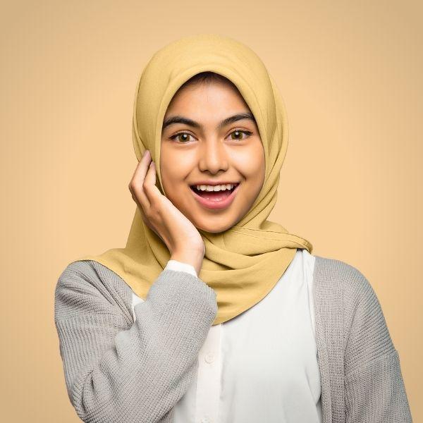 Gold Premium Georgette Hijab