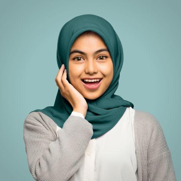 Jade Teal Premium Georgette Hijab